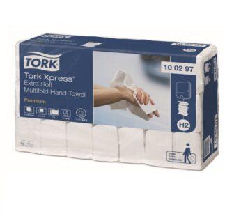 Rankšluostinės servetėlės Xpress TORK Multifold H2, 2sl., 100297,8,5 x 21,2 cm, balta sp. 100 lap.